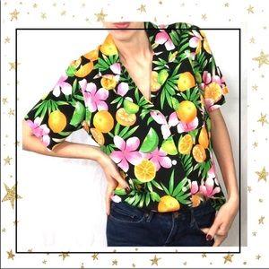 Erika citrus short sleeve button down shirt (B3)
